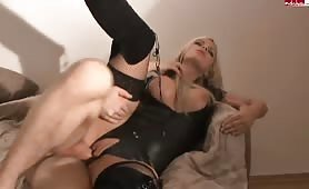 Selina-666 - Dominant latex bitch used young cock to fuck