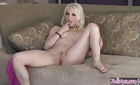 Twistys - Shy skinny blonde Ashley Jane plays solo