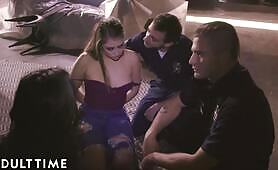 ADULT TIME Deliquent Step-Sisters Fuck Cops & Lick Cum 2 Stay Outta Jail
