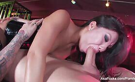 Asa Akira gets fucked on top of a caged Sophia Santi