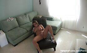 Super sexy Natasha Nice masturbates on set