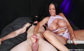 MILF Handjob while Playing with Her Pussy Over 40 Handjobs