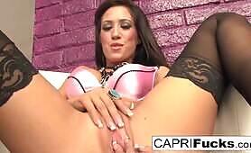 Busty Capri masturbates till her pussy cant take any more!