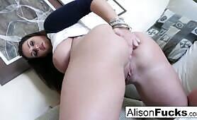 Big Tit Alison Tyler rubs her giant knockers before pleasuring herself!