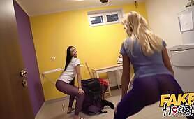 Fake Hostel Big booty fun in tights with hardcore in threesome