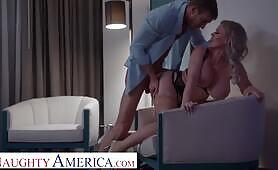 Naughty America Big tit blonde pornstar Casca Akashova takes care of client