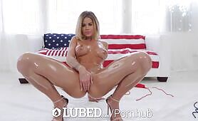 LUBED Dripping lubed blonde Jessa Rhodes fucked for 4th of july