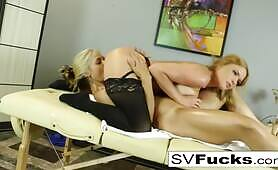 Busty Blonde MILF Gets A Rub Down And More