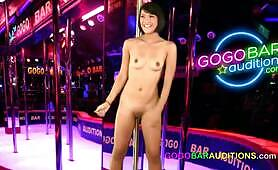 Super cute Thai girl auditions for a job at the gogo
