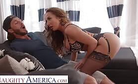 Naughty America Richelle Ryan tries on lingerie for delivery guy before riding his dick on her cou