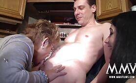 European milf lesbians sharing a dick