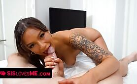 Tanned Cutie April Olsen Lets Stepbrother Smash Her Juicy Pussy